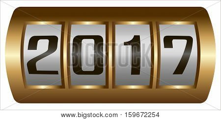 steampunk mechanism showing 2017, bronze detail from slot machine in the style of steampunk by 2017 mechanical room on the screen of the meter, vector new year