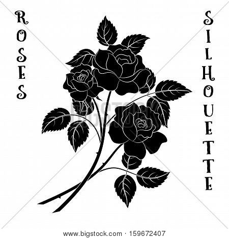 Roses Bouquet, Three Black Flowers Silhouette on White Background, Floral Gift, Symbolic Pictogram for Your Design. Vector