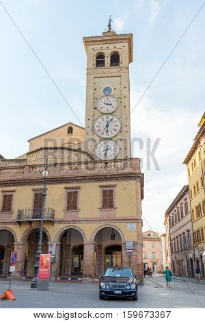 TOLENTINO ITALY- AUGUST 19: the ClockTower built in 1822 has four quadrants indicating moon phase the hours the astronomical date now on august 19 2016 Tolentino - Italy