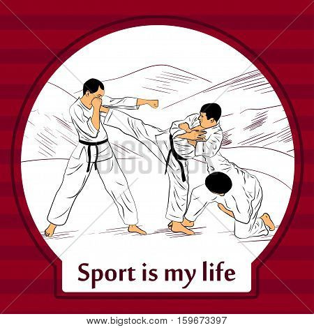 Sports life card. Karate fighters in kimono training.