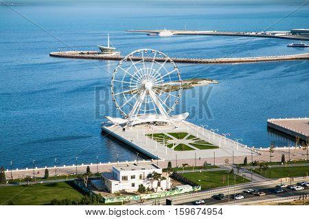 BAKU, AZERBEIJAN-OCT 4, 2016: Ferris wheel at sea boulevard in Baku on Oct 4, 2016. Azerbaijan