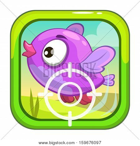 Cartoon app icon with funny bird. Application store item template. Vector asset for game or web design.