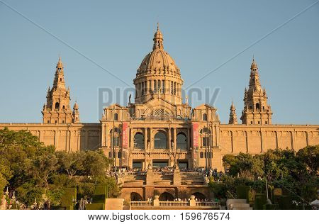 BARCELONA SPAIN- AUGUST 8: view square of Spain and National Art Museum on august 8 2016 in Barcelona - Spain