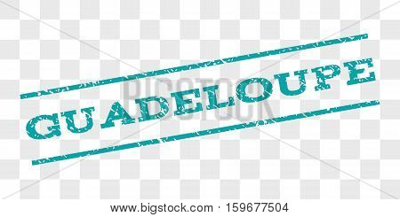 Guadeloupe watermark stamp. Text caption between parallel lines with grunge design style. Rubber seal stamp with scratched texture. Vector cyan color ink imprint on a chess transparent background.