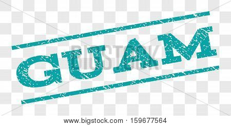 Guam watermark stamp. Text caption between parallel lines with grunge design style. Rubber seal stamp with scratched texture. Vector cyan color ink imprint on a chess transparent background.