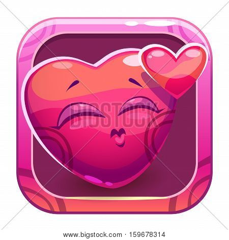 App icon with funny cute pink girl slimy square character in love. Cute vector game asset. Valentines Day symbol.
