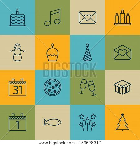 Set Of 16 Holiday Icons. Can Be Used For Web, Mobile, UI And Infographic Design. Includes Elements Such As Pizzeria, Glasses, Aquatic And More.