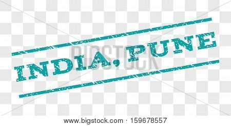 India, Pune watermark stamp. Text tag between parallel lines with grunge design style. Rubber seal stamp with scratched texture. Vector cyan color ink imprint on a chess transparent background.