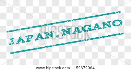 Japan, Nagano watermark stamp. Text caption between parallel lines with grunge design style. Rubber seal stamp with unclean texture. Vector cyan color ink imprint on a chess transparent background.