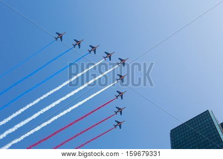Paris, France – July 14, 2013: Fly-past Of The French Air Force And Naval Aviation