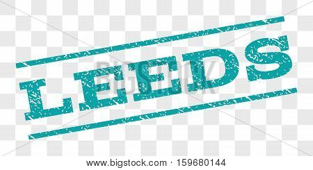 Leeds watermark stamp. Text caption between parallel lines with grunge design style. Rubber seal stamp with dust texture. Vector cyan color ink imprint on a chess transparent background.