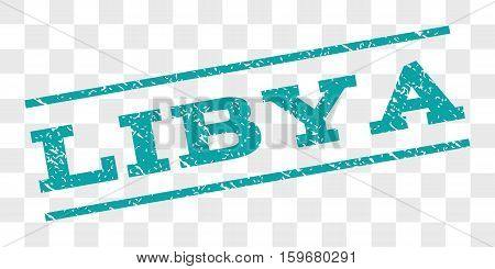 Libya watermark stamp. Text caption between parallel lines with grunge design style. Rubber seal stamp with dust texture. Vector cyan color ink imprint on a chess transparent background.