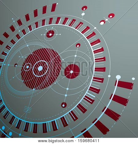 3d engineering technology vector backdrop. Futuristic technical plan mechanism. Red mechanical scheme dimensional abstract industrial design can be used as website background.