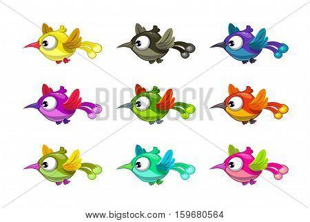 Little cartoon flying birds set, different color variations, vector illustration