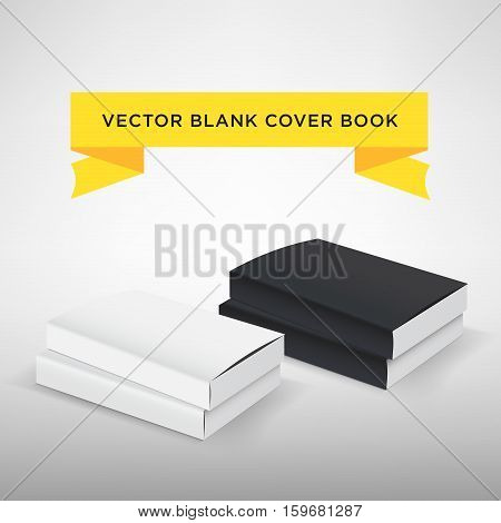 Blank book cover vector illustration. Softcover book or magazine. Black and white color. Template for your design.