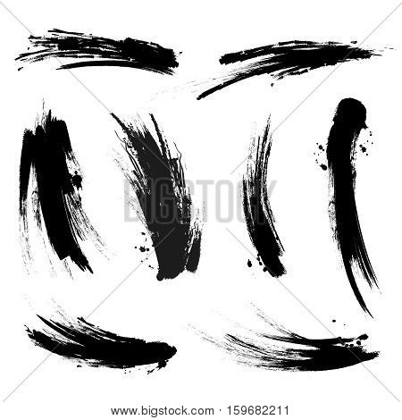 Vector black mascara brush trace strokes isolated on white background. Stroke from brush mascara, black stroke dirty trace illustration