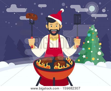 BBQ xmas holiday party. Flat illustration of smiling guy is cooking beef steak barbecue outdoors near decorated xmas tree. Funny hipster has a beard celebrating christmas or a new year and cooking bbq