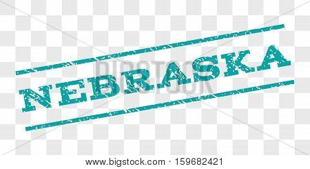 Nebraska watermark stamp. Text caption between parallel lines with grunge design style. Rubber seal stamp with dirty texture. Vector cyan color ink imprint on a chess transparent background.