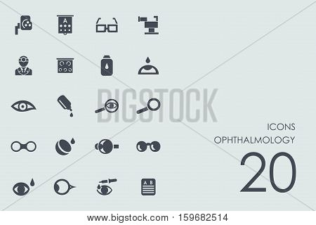ophthalmology vector set of modern simple icons