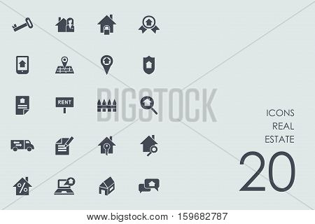 real estate vector set of modern simple icons