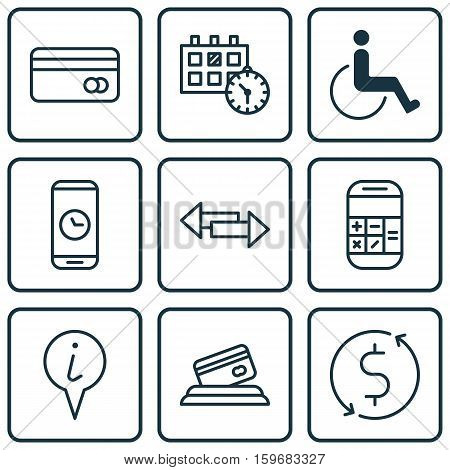 Set Of 9 Transportation Icons. Can Be Used For Web, Mobile, UI And Infographic Design. Includes Elements Such As Dollar, Paralyzed, Date And More.