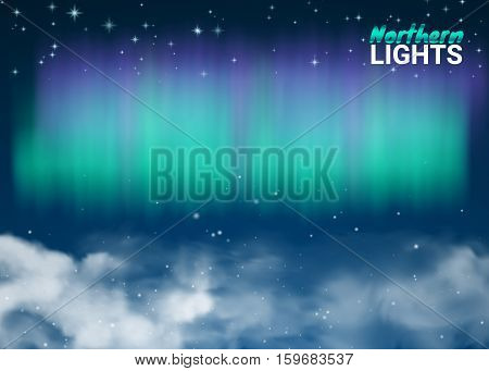 Starry Night Sky Aurora Beautiful Natural Effect for Design Projects. Deep Night Dark Sky Magic Fabulous with Clouds and Realistic Colored Northern or polar lights. Vector Illustration.