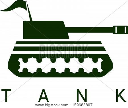 Abstract Vector Design Template Of Tank With Flag