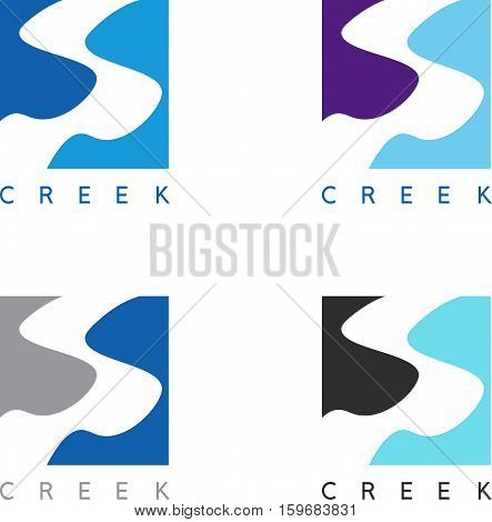 Abstract Creek Or Path Labels Set Vector Illustration
