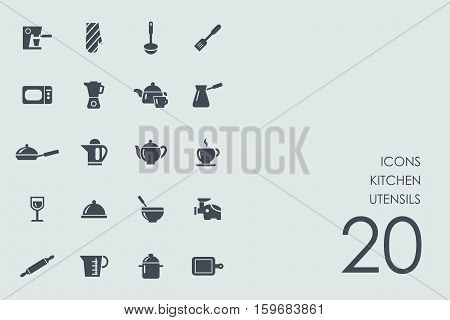 kitchen utensils vector set of modern simple icons
