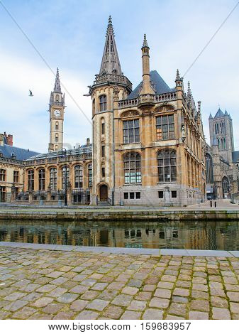 Graslei, The Historic Center Of Ghent At The Leie River.
