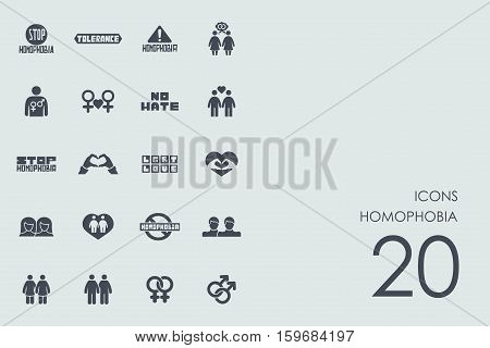 homophobia vector set of modern simple icons