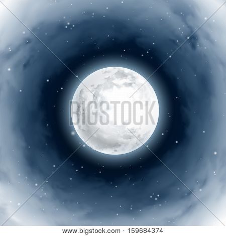 Vortex of Clouds Around the Full Moon. Mystical Night sky. Moonlight night. Realistic clouds. Shining Stars on dark blue sky. Vector illustration background.