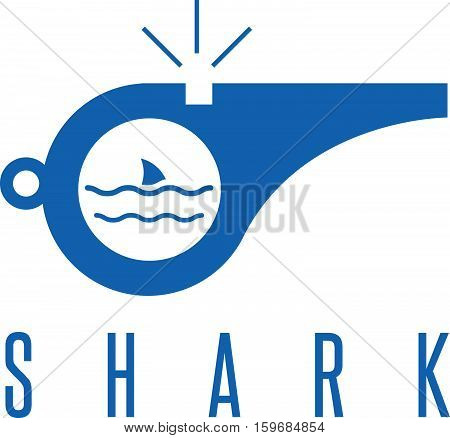 Whistle With Shark Fin Of Rescuer On The Beach Vector Design