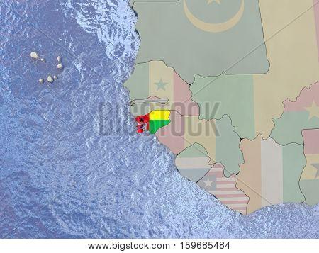 Guinea-bissau With Flag On Globe