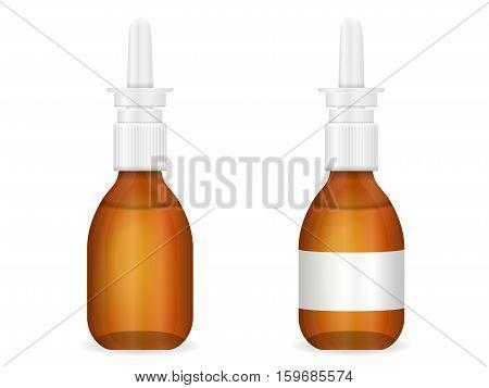 Glass medical bottle set on a white background.