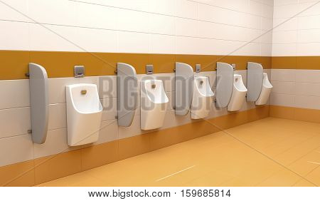 Row of urinals at public toilet, 3D illustration