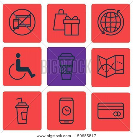 Set Of 9 Travel Icons. Can Be Used For Web, Mobile, UI And Infographic Design. Includes Elements Such As Drink, Accessibility, Mobile And More.