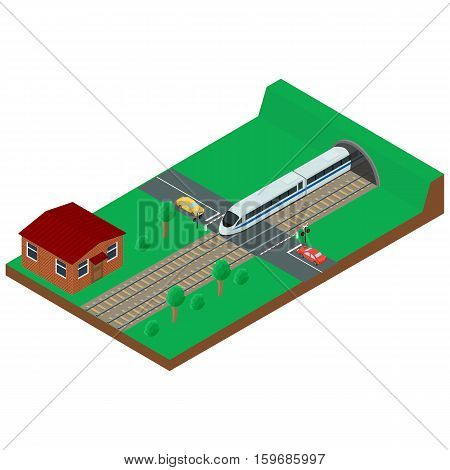 vector illustration. Railway crossing. High-speed train leaves the tunnel. Brick house of a railway employee. Isometric 3D