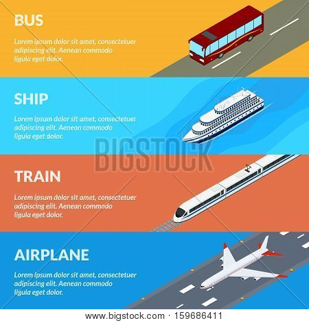 Vector illustration. Set of web banners public passenger transport. Bus train airplane ship. Isometric 3D. Design for ticket sales travel and tourism.