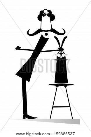 Funny trick. Man takes out a rabbit from the top hat by the ears