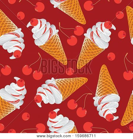 Ice cream with cherries. Seamless pattern on red background. Design for textiles , tapestries, packaging, bags, purse