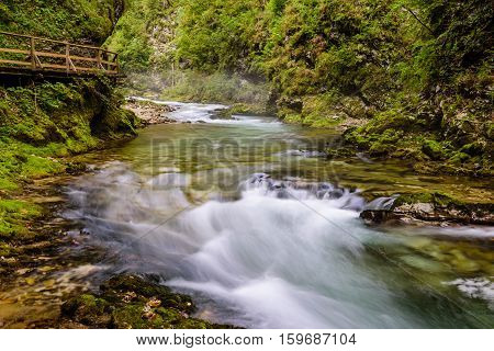 The famous Vintgar gorge Canyon with wooden pats in the natural Park Triglav, Slovenia.