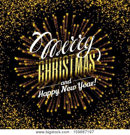 Effect gold luster luxury design rich background. Text Merry Christmas lettering design. Stardust spark the explosion on a black background. Luxury golden texture. Vector Illustration.