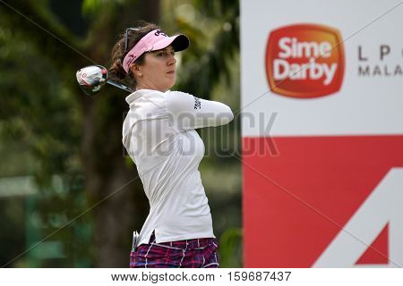 KUALA LUMPUR, MALAYSIA - OCTOBER 29, 2016: Sandra Gal of Germany tees off from the T-box of the 4th hole at the TPC Golf Course at the 2016 Sime Darby LPGA Malaysia golf tournament.