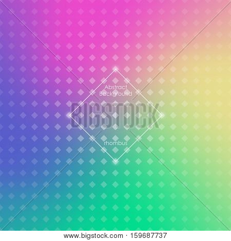 Abstract blurred gradient mesh background in bright rainbow colors. Colorful smooth banner template. Easy editable. Rhombic mesh. Vector illustration. Brochure poster design.