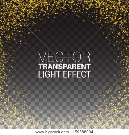 Effect gold luster luxury design rich background. The text on a transparent background. Stardust spark the explosion on a transparent background. Luxury golden texture. Vector Illustration.