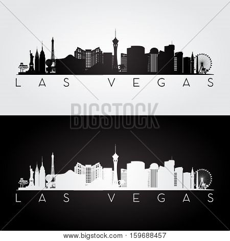 Las Vegas USA skyline and landmarks silhouette black and white design vector illustration.