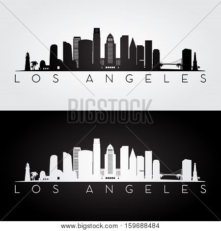 Los Angeles USA skyline and landmarks silhouette black and white design vector illustration.