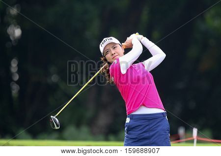 KUALA LUMPUR, MALAYSIA - OCTOBER 29, 2016: Hee Young Park of South Korea tees off at the TPC Golf Course at the 2016 Sime Darby LPGA Malaysia golf tournament.