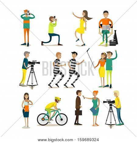 Vector set of photographers, videographers, journalists shooting and interviewing people, making reports for mass media. Couple taking selfie. Photo, video concept design elements, icons in flat style